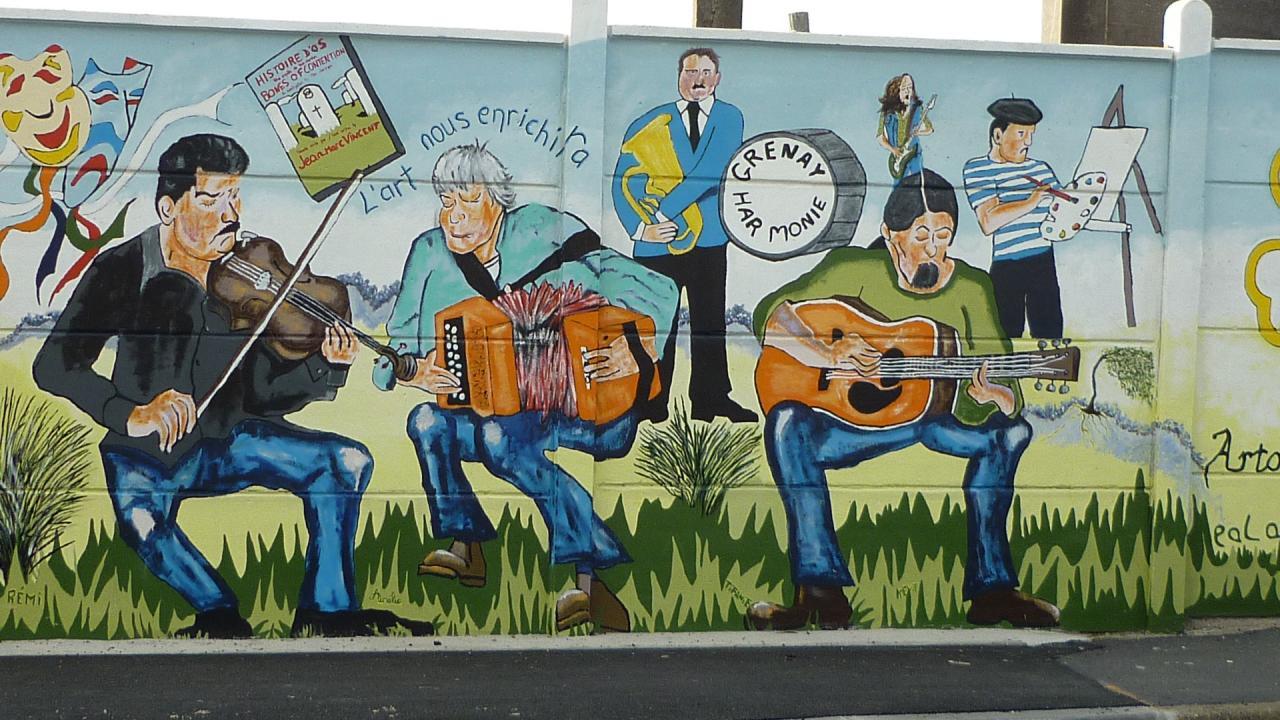 fresque à Grenay (mur du cimetière)